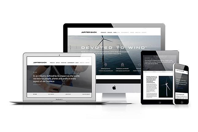 Jupiter Bachs website vist på forskellige devices