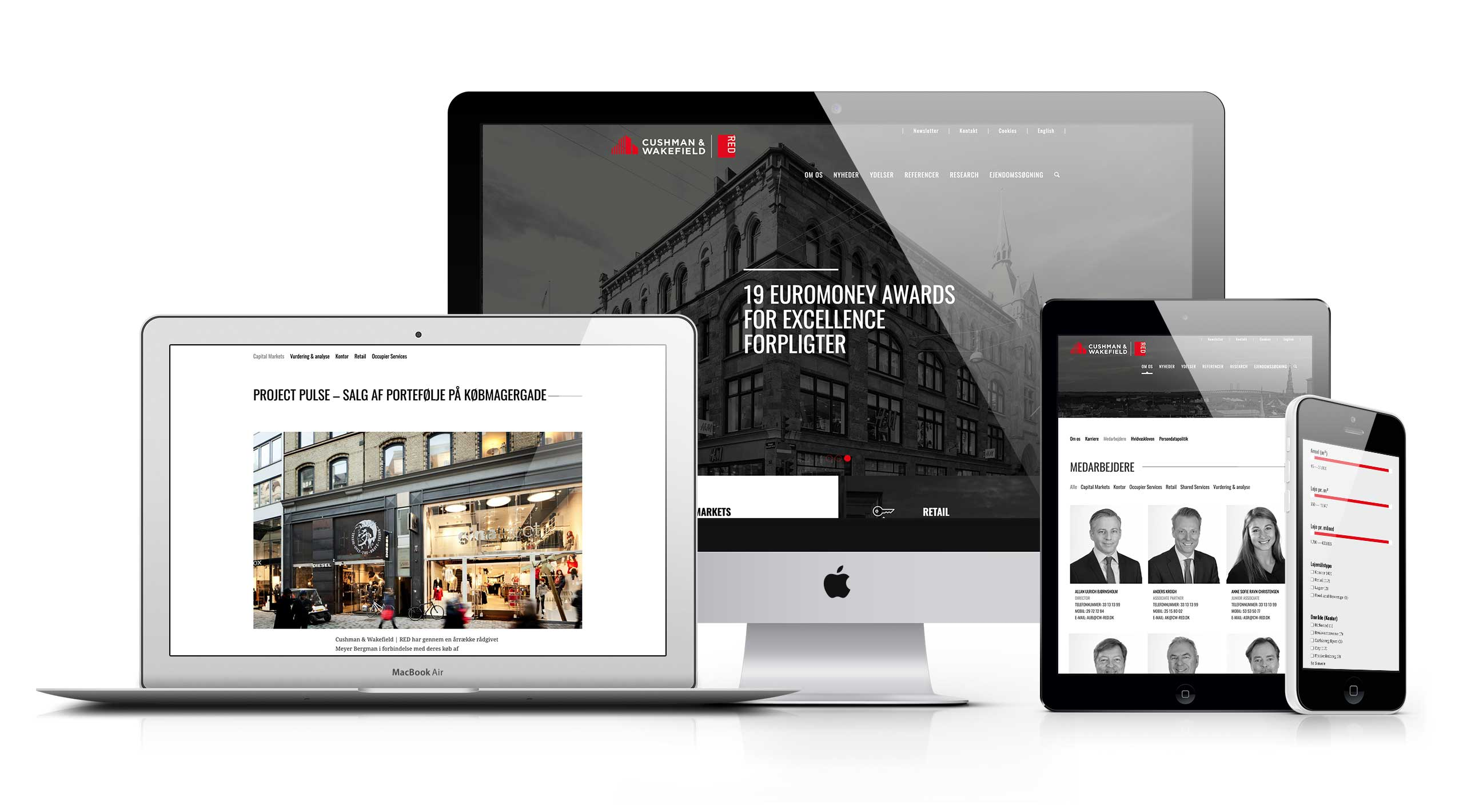 Cushman Wakefield | RED's website vist på forskellige devices