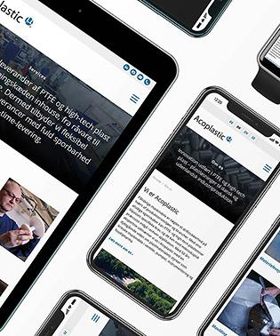 Acoplastics website vist på forskellige devices